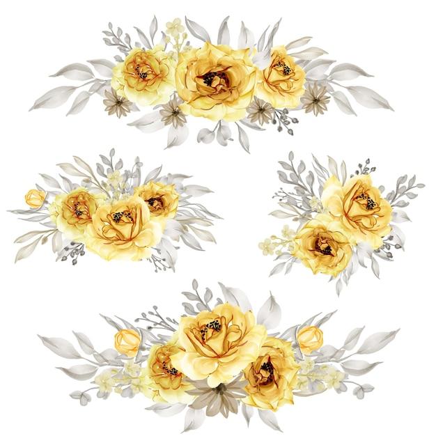 격리 된 장미 골드 노란색 꽃 화 환 세트 프리미엄 벡터