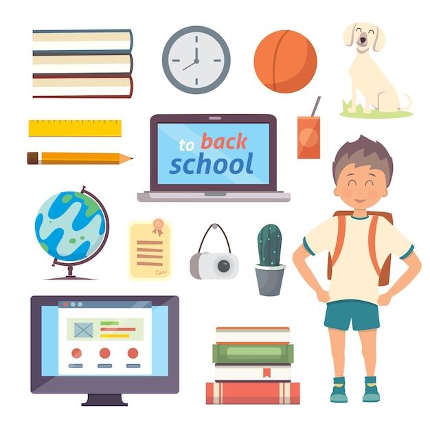Набор изолированных школьных предметов. обратно в школу мультфильм иконки на белом фоне Premium векторы