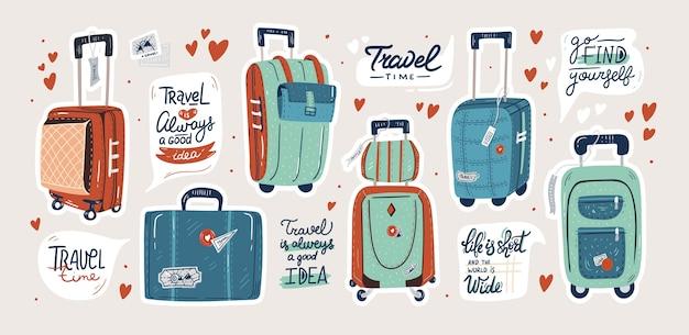 孤立したスーツケースのセット。トラベルバッグと見積もりステッカーセット Premiumベクター