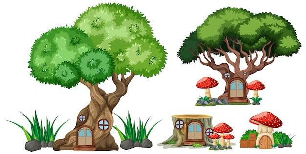 白い背景の上の孤立した木と切り株の家漫画スタイルのセット 無料ベクター