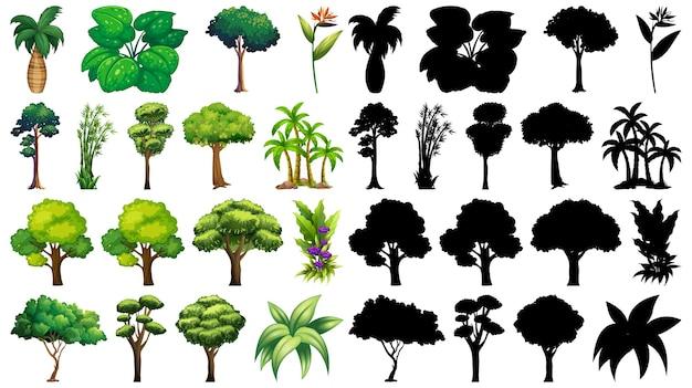 고립 된 나무 세트 무료 벡터