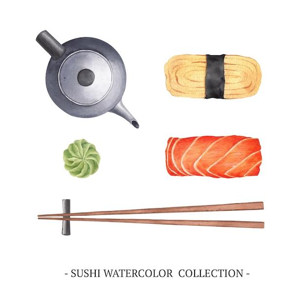 白い背景の上の孤立した水彩寿司イラストのセット。 無料ベクター