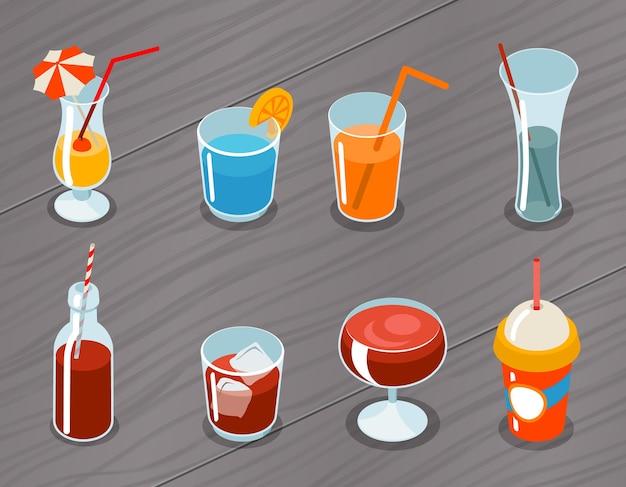 等尺性の3d飲み物アイコンのセットです。カクテルアルコール、液体とジュース、トロピカルフレッシュ 無料ベクター