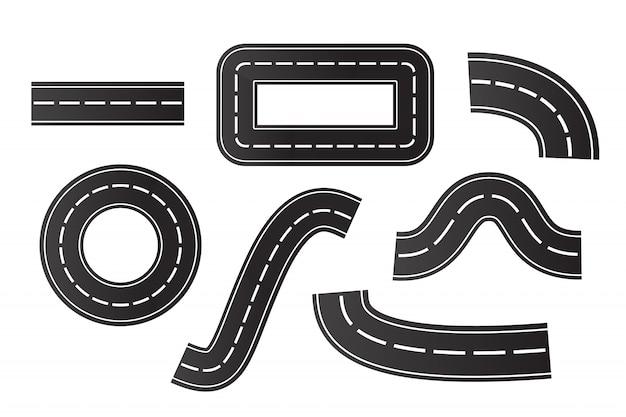 白い背景の等尺性アスファルト道路のセット。物流、旅、配送、輸送の概念。 Premiumベクター