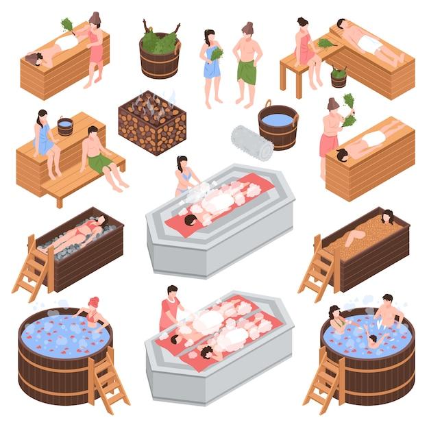 Набор изометрических банных элементов и человеческих персонажей во время процедуры очистки тела, изолированных векторная иллюстрация Бесплатные векторы