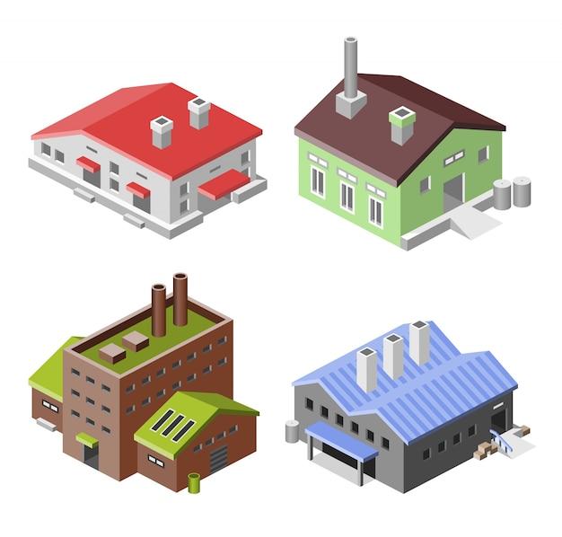Set of isometric factories