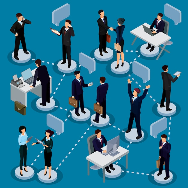 Set of isometric people in business suits in\ the office.