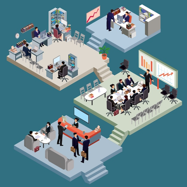 set of isometric people in business suits in the office