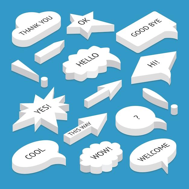 Набор изометрических речевых пузырей Premium векторы