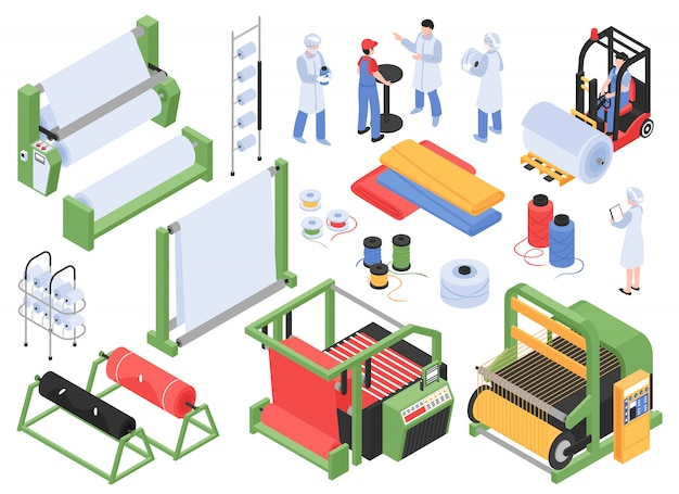 Комплект изометрической текстильной фабрики производственного назначения с хранилищами промышленного оборудования и персоналом персонажей Бесплатные векторы