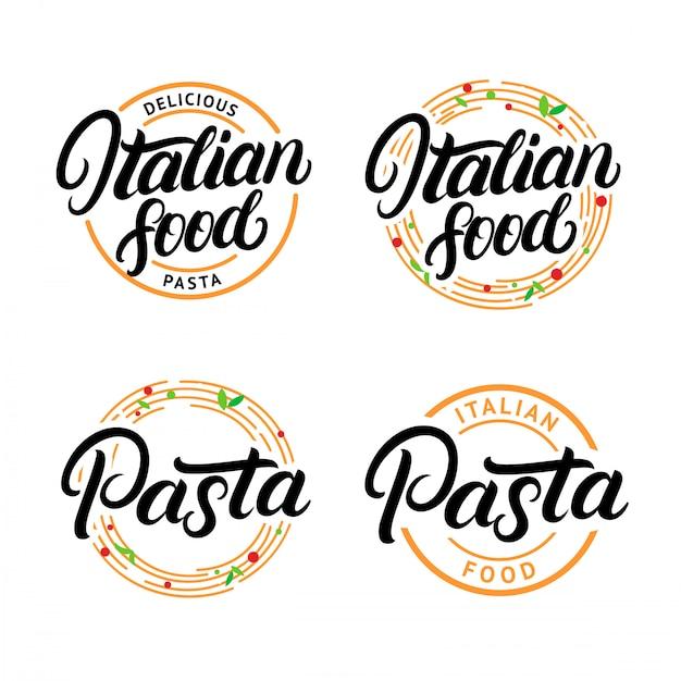 イタリア料理とパスタの手書き文字ロゴのセット Premiumベクター