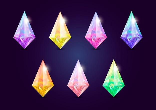ゲーム用の宝石、宝石のセット。 Premiumベクター