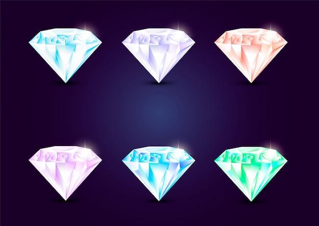 宝石の宝石のセット Premiumベクター