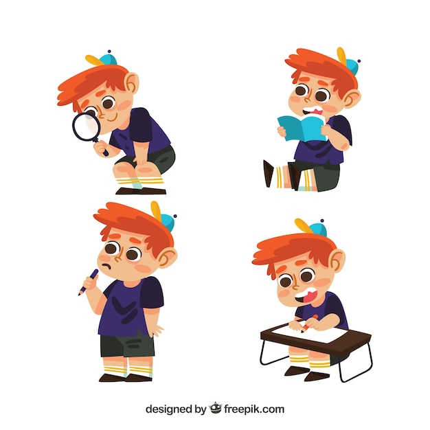 Set of kid character learning Free Vector