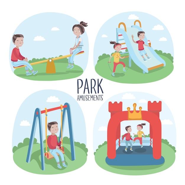Набор элементов детской площадки и детей, играющих иллюстрации Premium векторы