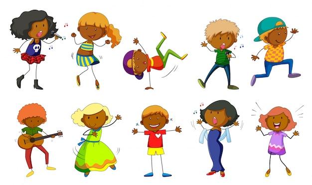 Set of kids singing and dancing\ illustration