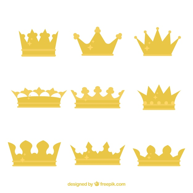 Set of king's crowns with flat design Free Vector