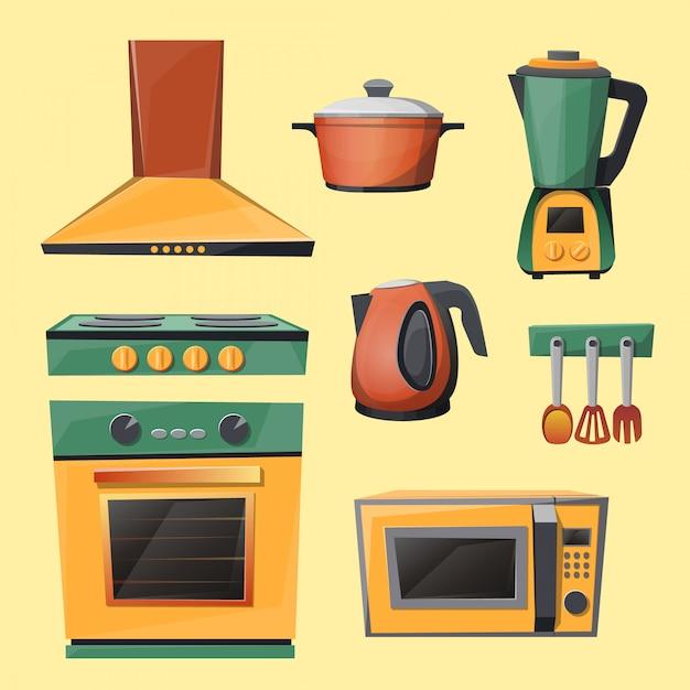 Набор кухонной техники - микроволновая печь, чайник, блендер, миксер, плита Бесплатные векторы