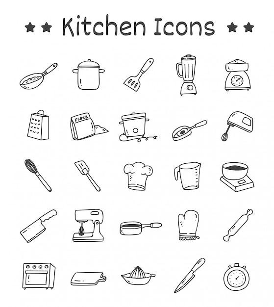 落書きスタイルのキッチンアイコンのセット Premiumベクター