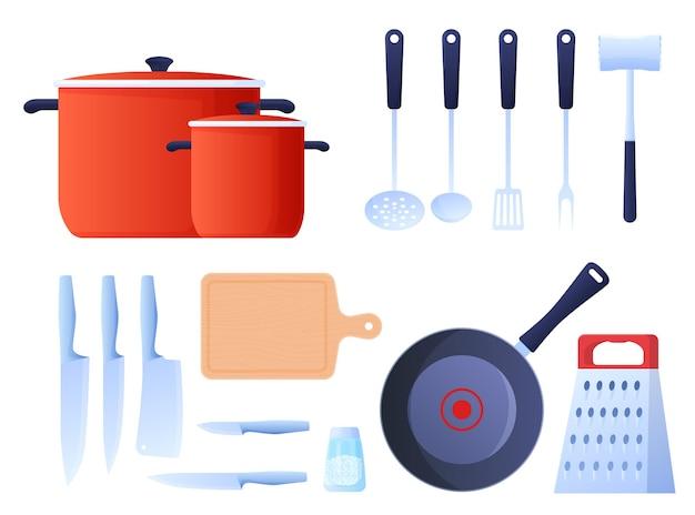 調理器具、鍋、ナイフ、おろし金、おたま、フライパン、キッチンハンマーのセット。フラットな漫画スタイルのカラフルなイラスト。 Premiumベクター