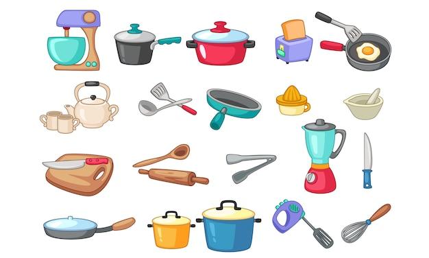 キッチン用品イラストのセット 無料ベクター