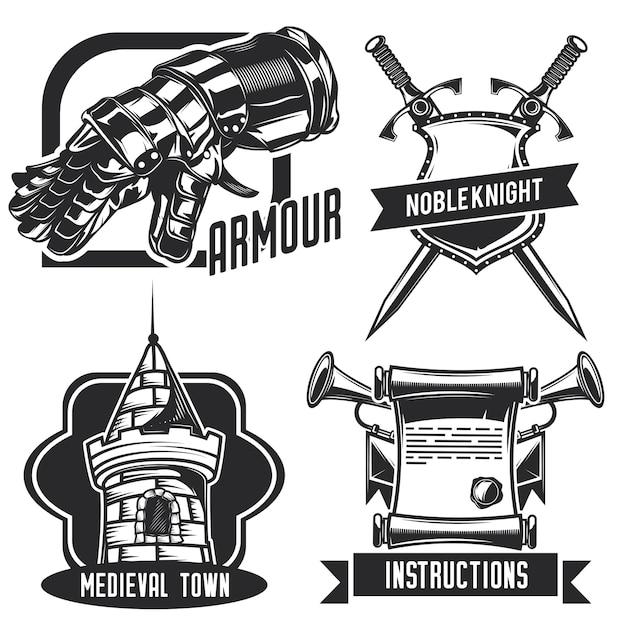 騎士のエンブレム、ラベル、バッジ、ロゴのセット。白で隔離 無料ベクター