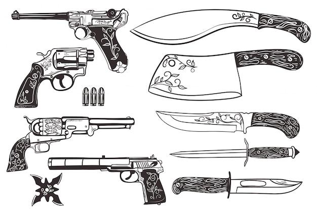 ナイフと白い背景で隔離の拳銃のセット。 Premiumベクター