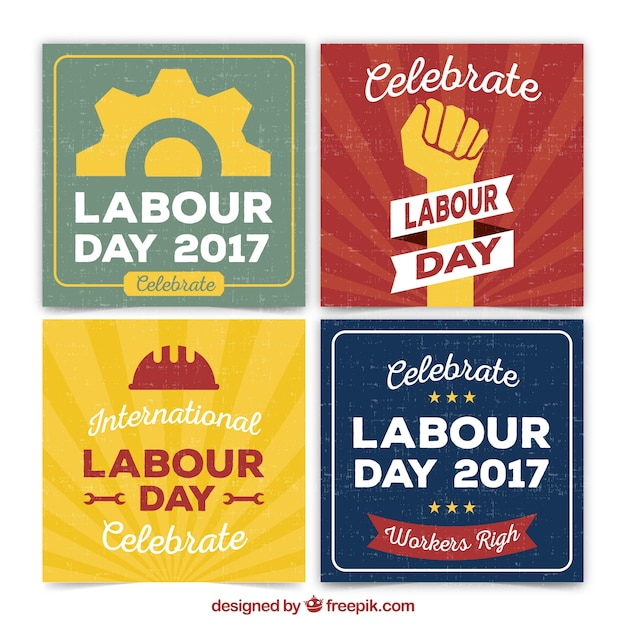 Set of labor day greeting cards vector free download set of labor day greeting cards free vector m4hsunfo