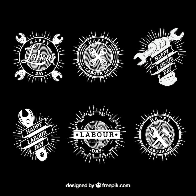 Set of labour day badges in hand drawn style Free Vector