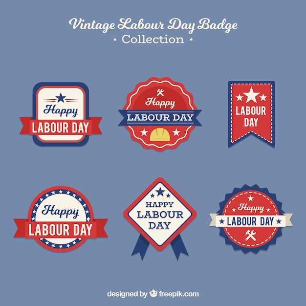 Set of labour day badges in vintage style Free Vector