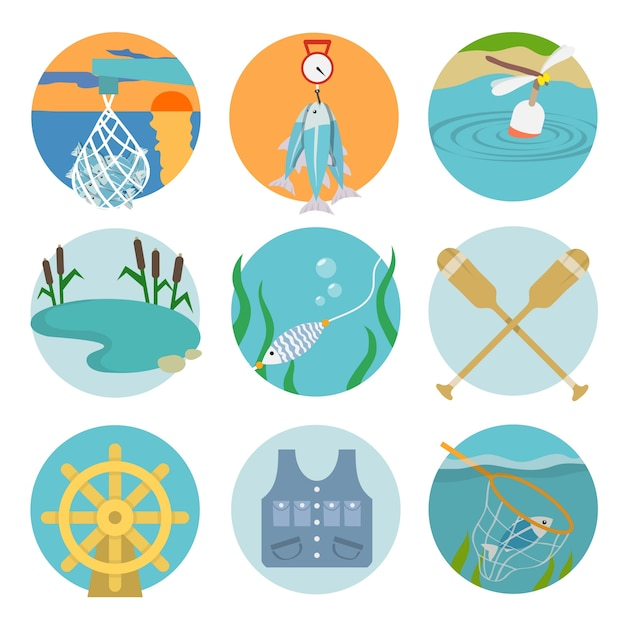 Set of lake paddles catch icons in flat style\ on color circles vector illustration