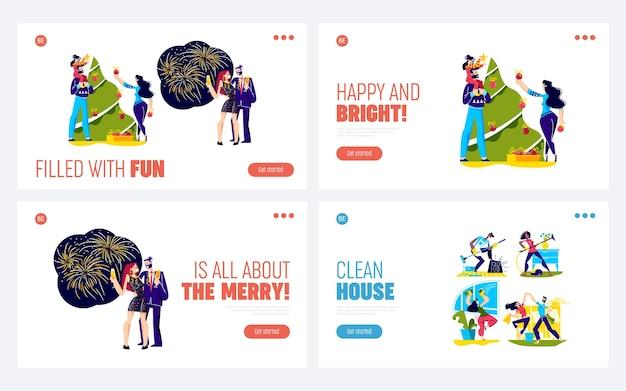 Набор целевых страниц для празднования рождества с людьми, украшающими новогоднюю елку и пьющими шампанское. Premium векторы