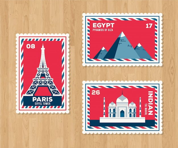 Set of landmark stamps with cities and monuments Free Vector