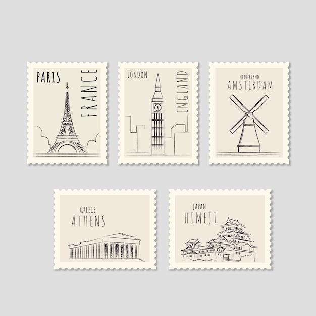 Набор знаковых марок с разными городами в ручном стиле Бесплатные векторы