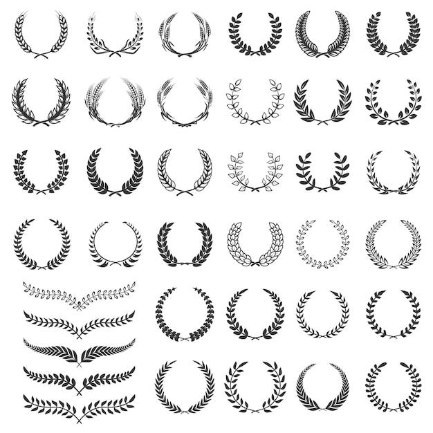 Набор иконок лавровый венок. элемент для логотипа, этикетки, эмблемы, знака. иллюстрация Premium векторы