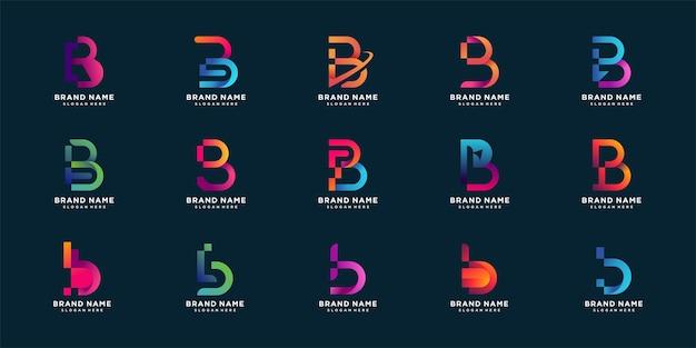 Набор букв b коллекции логотипов с концепцией градиента красочный Premium векторы