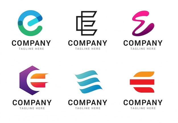 Набор элементов шаблона иконы логотип буква e Premium векторы