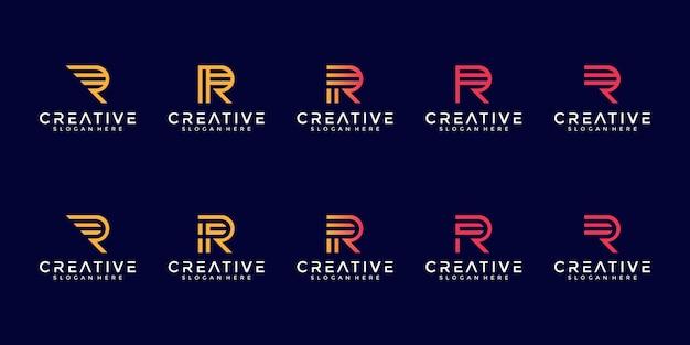 最初のrラインアートコンセプトの文字ロゴコレクションのセット Premiumベクター