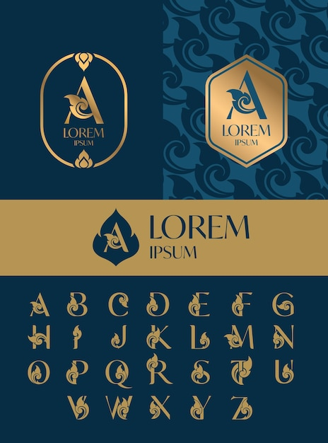 文字ロゴアイコンデザインテンプレート、タイアートスタイルのセット Premiumベクター