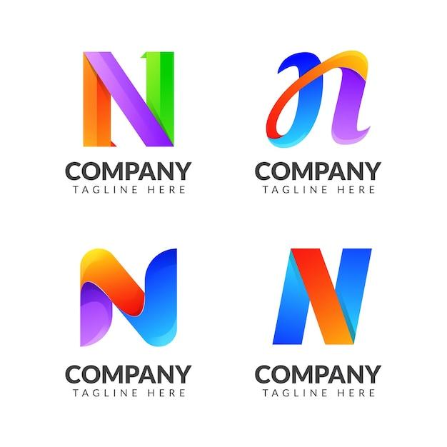 ビジネスのためのカラフルなコンセプトの文字nロゴコレクションのセット Premiumベクター