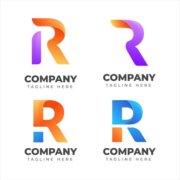 会社のためのカラフルなコンセプトの文字rロゴコレクションのセット Premiumベクター