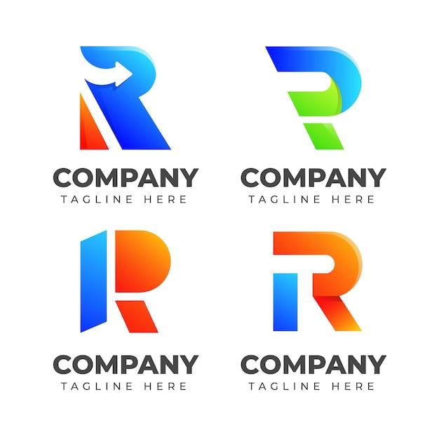 カラフルなコンセプトの文字rロゴデザインテンプレートのセットです。ファッション、スポーツ、自動車、エレガントのビジネスのために Premiumベクター