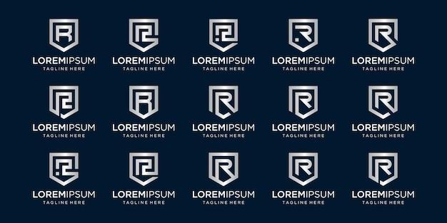 文字rモノグラムとシールド記号の組み合わせのセット。 Premiumベクター