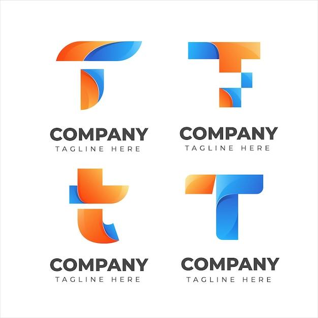 Набор букв t логотип коллекции с красочной концепцией для компании Premium векторы