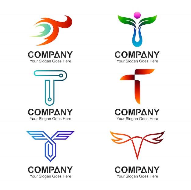 Шаблон логотипа t Premium векторы