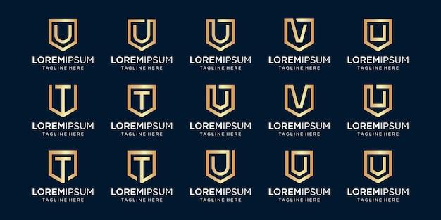 Набор букв монограммы utv и комбинации знака щита. Premium векторы
