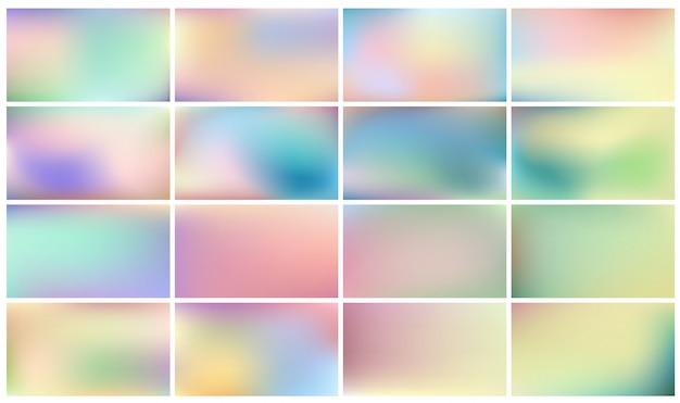 パステルカラーのグラデーションで明るい色の背景のセット 無料ベクター
