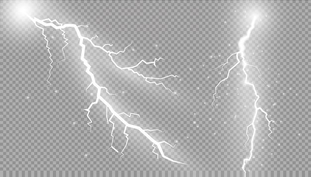 雷のセット魔法と明るい照明効果。 Premiumベクター