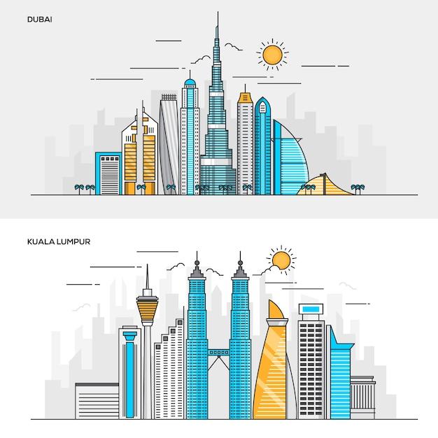 Набор цветных баннеров для города дубай и куала-лумпур. концепции веб-баннеров и печатных материалов. иллюстрация Premium векторы