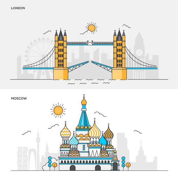 ロンドン市とモスクワ市の線色バナーsのセット。コンセプトwebバナーと印刷物。図 Premiumベクター